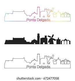 Ponta Delgada skyline linear style with rainbow in editable vector file