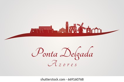 Ponta Delgada skyline in red and gray background in editable vector file