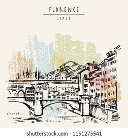Ponte Vecchio bridge in Florence, Italy, Europe. Vintage travel sketch. Retro style touristic postcard, poster template or book illustration in vector
