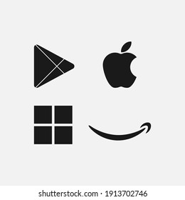 Pontianak, Indonesia - February 10 2021 : Amazon, Apple, Play store and Microsoft store logo in flat solid color.