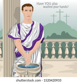 Pontius Pilate Washing His Hands With Crucifixion In Background