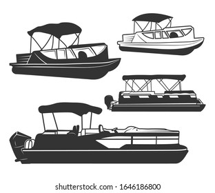 Pontoon Boat Vector Bundle Symbol