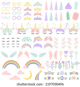 Pony unicorn face elements. Pretty hairstyle, magic horn and little fairy crown. Unicorns character head creative rainbow, wreath and hairstyle. Girly cartoon vector isolated illustration icon set