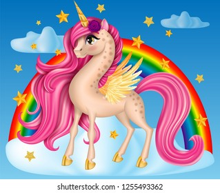 Pony Unicorn with Flower, Big Eyes and Golden Horn, Feather Wings, Hooves on the Cloud with Rainbow, Multicolor, Long Hair (Mane, Tail), Cartoon Character Hand Drawn, Realistic Vector 3D Illustration