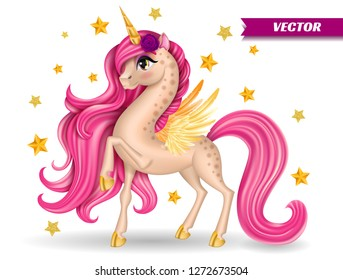 Pony Unicorn with Flower, Big Eyes and Golden Stars, Horn, Feather Wings, Hooves, Long Hair (Mane, Tail), Cartoon Character Hand Drawn, Realistic Vector 3D Illustration