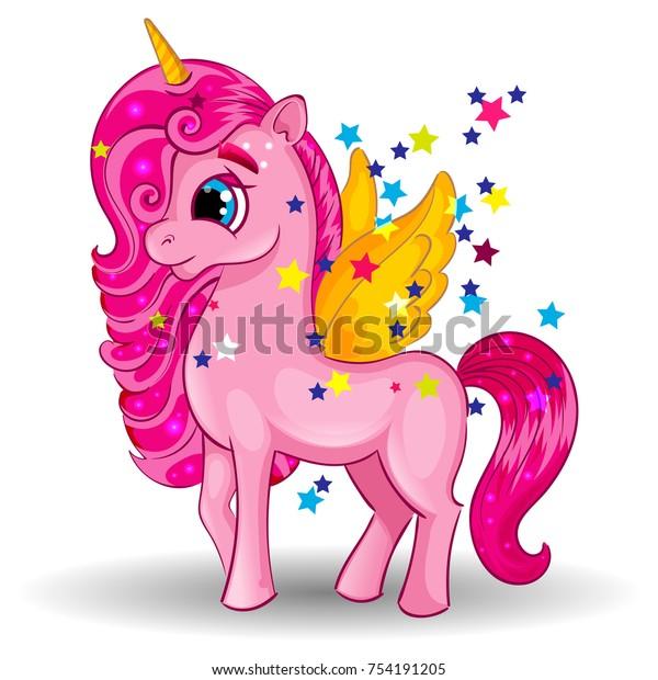 Image Vectorielle De Stock De Licorne De Pony Avec Ailes Dorees