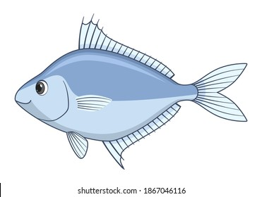 Ponyfish fish on a white background. Cartoon style vector illustration