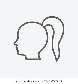 Ponytail hair icon line symbol. Isolated vector illustration of  icon sign concept for your web site mobile app logo UI design.