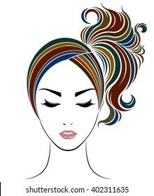 ponytail hair style icon, logo women face on white background, vector
