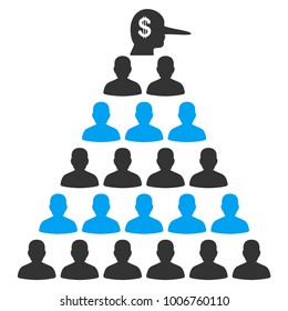 Ponzi Pyramid Manager flat vector pictograph. An isolated icon on a white background.