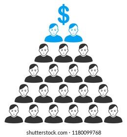 Ponzi pyramid scheme flat vector icon. An isolated icon on a white background.