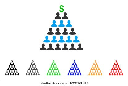 Ponzi Pyramid Scheme icon. Vector illustration style is a flat iconic ponzi pyramid scheme symbol with gray, yellow, green, blue, red, black color versions. Designed for web and software interfaces.