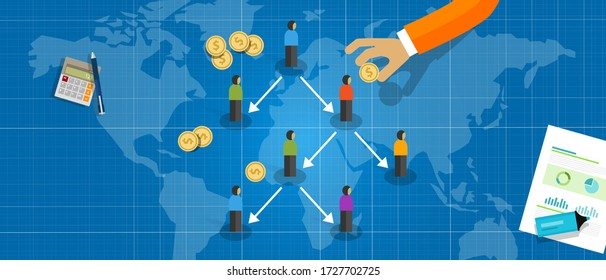 Ponzi scheme fraud type of Multi Level Marketing or MLM concept of business hierarchy pyramid of networked people