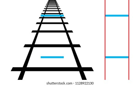 Ponzo illusion, geometrical optical illusion. Both blue horizontal lines are the same length. The human mind judges the size of an object based on its background. Illustration over white. Vector.