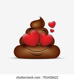 Poo emoticon, emoji - poop face - vector illustration