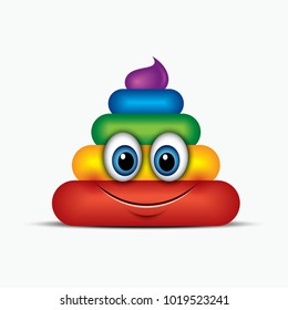 Poo emoticon, emoji, smiley - poop face, rainbow colors - vector illustration