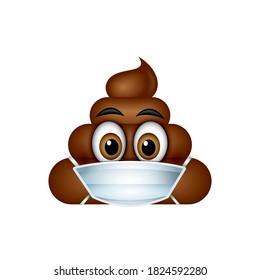 Poo emoticon, emoji wearing respiratory mask poop face vector illustration