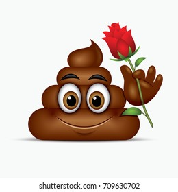 Poo emoticon holding red rose, emoji - poop face - vector illustration