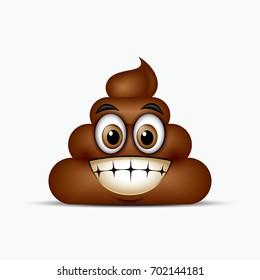 Poo emoticon showing teeth, emoji - poop face - vector illustration
