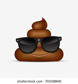 Poo emoticon wearing sunglasses, emoji - poop face - vector illustration