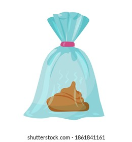 poo in plastic bag. waste bag. Cleaning for a dog on a walk. Accessories for pets. An element from a set of doodles drawn by hand. Isolated illustration on a white background.