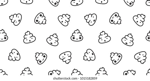 Poo Seamless pattern Cartoon isolated illustration doodle wallpaper background