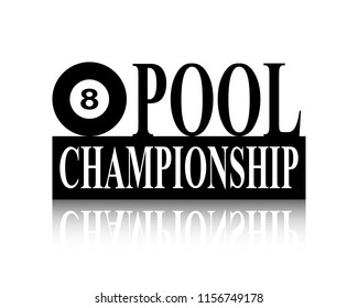 Pool ball black and white silhouette championship sign