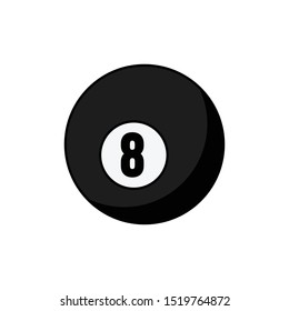 Pool ball number 8 icon isolated on white background. Black billiard ball symbol modern, simple, vector, icon for website design, mobile app, ui. Vector Illustration