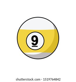 Pool ball number 9 icon isolated on white background. Billiard ball symbol modern, simple, vector, icon for website design, mobile app, ui. Vector Illustration