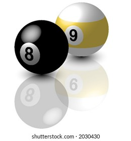 Pool balls_Eight and nine ball with reflex over white background