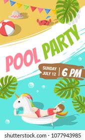 Pool beach party flyer poster template