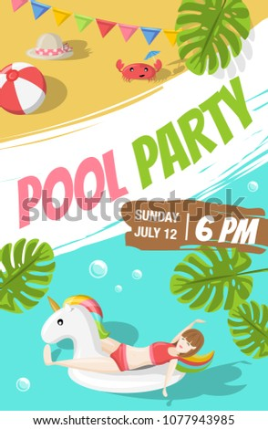 pool beach party flyer poster template stock vector royalty free