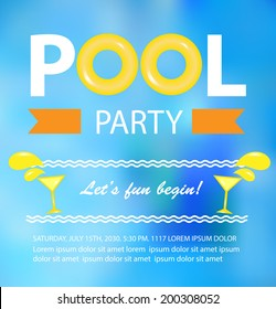 Pool or beach party invitation card, vector illustration