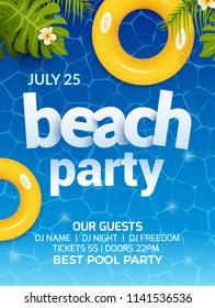 Pool Summer Party Invitation Banner Flyer Stock Vector Royalty Free