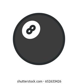 Pool Billiard Snooker Eight Ball Minimal Flat Color Line Outline Stroke Icon Pictogram Symbol