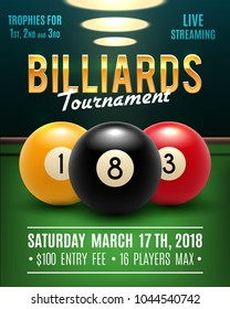 Pool billiards tournament announcement poster template of color balls and snooker cues on green table. Vector design for billiards team championship for carom sport game players