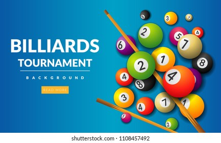 Pool billiards tournament announcement poster template . Vector design for billiards team championship for carrom sport game players vector illustration.