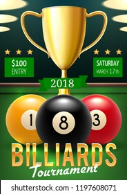Pool billiards tournament announcement poster. Color balls with numbers and gold trophy cup on green table. Vector billiards team championship, sport game players and gambling competition leaflet