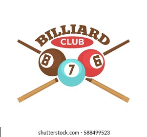 Pool or billiards vector icon or template of cues and balls for poolroom game club contest.
