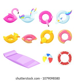Pool cute kids inflatable floats, vector isolated design elements. Unicorn, flamingo, duck, ball, donut icons