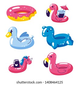 Pool cute kids inflatable floats, vector isolated design elements. Unicorn, flamingo, swan, donut icons isolated on white background.