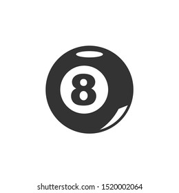Pool Eight Ball Icon template color editable. billiard ball symbol vector sign isolated on white background. Simple logo vector illustration for graphic and web design.