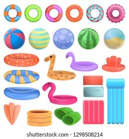 Pool equipment icons set. Cartoon set of pool equipment vector icons for web design