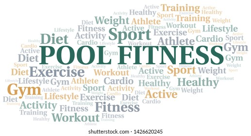 Pool Fitness word cloud. Wordcloud made with text only.