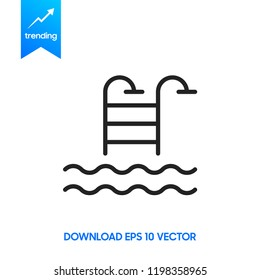 Pool flat icon. Single high quality outline symbol of water for web design or mobile app. Thin line signs of swimming for design logo, visit card, etc.