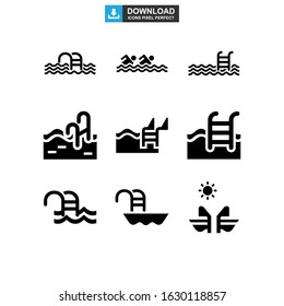 pool icon or logo isolated sign symbol vector illustration - Collection of high quality black style vector icons