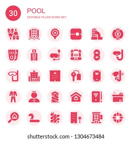 pool icon set. Collection of 30 filled pool icons included Flipper, Slide, Hotel, Flippers, Diving mask, Bouncy castle, Inflatable, Dive, Key room, Billiard, Diving, Bellhop, Real estate
