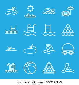 Pool icons set. set of 16 pool outline icons such as beach ball, billiards, waterslide, pond, swimmer, man laying in sun, swimming