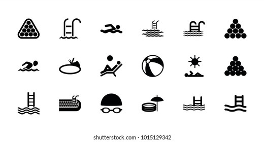 Pool icons. set of 18 editable filled pool icons: beach ball, biliard triangle, swimming man, pond, swimming hat and glasses, man laying in sun, man laying in the sun