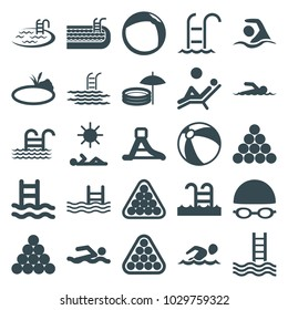 Pool icons. set of 25 editable filled pool icons such as beach ball, billiards, biliard triangle, swimming man, swimming ladder, waterslide, pond, swimmer, man laying in sun